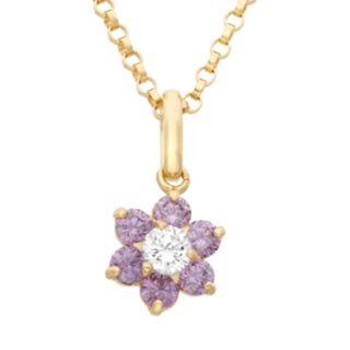 Junior Jewels Cubic Zirconia 14k Gold Flower Pendant Necklace