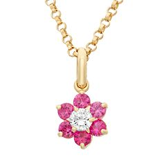 Junior Jewels Cubic Zirconia 14k Gold Flower Pendant Necklace