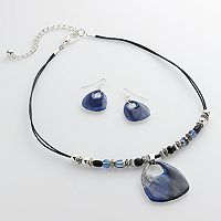 Beaded Teardrop Pendant Necklace & Drop Earring Set