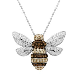 Artistique Crystal Sterling Silver Bee Pendant Necklace - Made with Swarovski Crystals