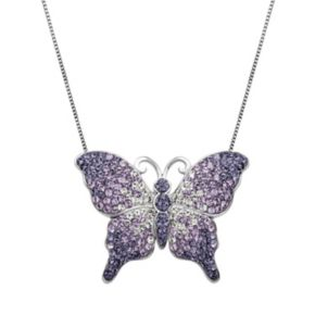 Artistique Crystal Sterling Silver Butterfly Pendant Necklace - Made with Swarovski Crystals