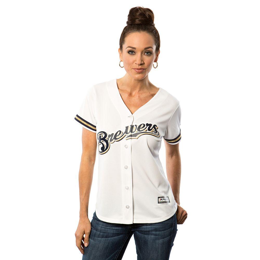 Women's Majestic Milwaukee Brewers Cool Base Replica Jersey