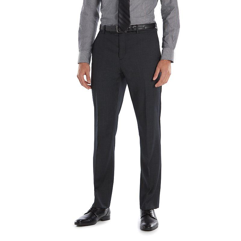 Marc Anthony Slim-Fit Wool Black Flat-Front Suit Pants - Men