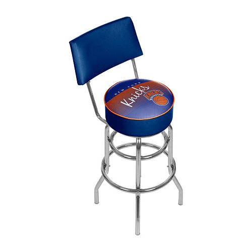 New York Knicks Hardwood Classics Padded Swivel Bar Stool with Back