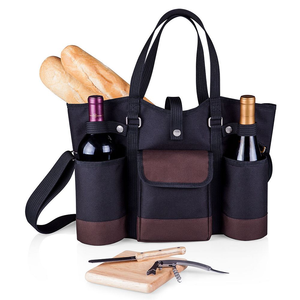 Picnic Time Wine Country 4-pc. Insulated Wine Tote Set