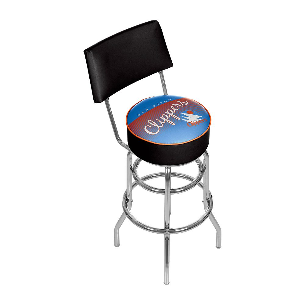 San Diego Clippers Hardwood Classics Padded Swivel Bar Stool with Back