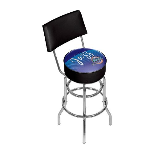 Utah Jazz Hardwood Classics Padded Swivel Bar Stool with Back
