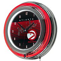 Atlanta Hawks Hardwood Classics Chrome Double-Ring Neon Wall Clock