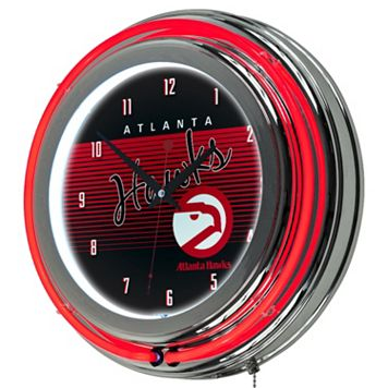 Atlanta Hawks Hardwood Classics Chrome Double-Ring Neon Wall Clock