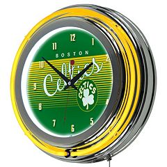 Boston Celtics Hardwood Classics Chrome Double-Ring Neon Wall Clock