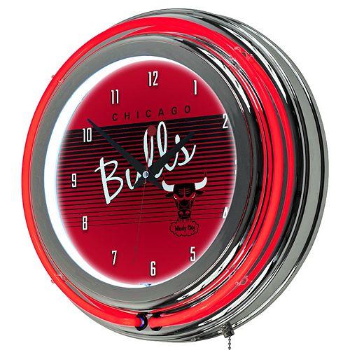 Chicago Bulls Hardwood Classics Chrome Double-Ring Neon Wall Clock