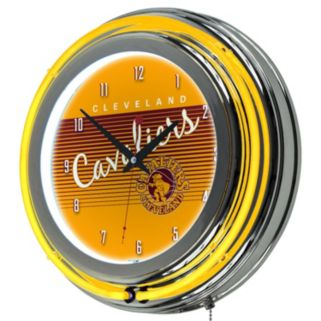 Cleveland Cavaliers Hardwood Classics Chrome Double-Ring Neon Wall Clock