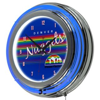 Denver Nuggets Hardwood Classics Chrome Double-Ring Neon Wall Clock
