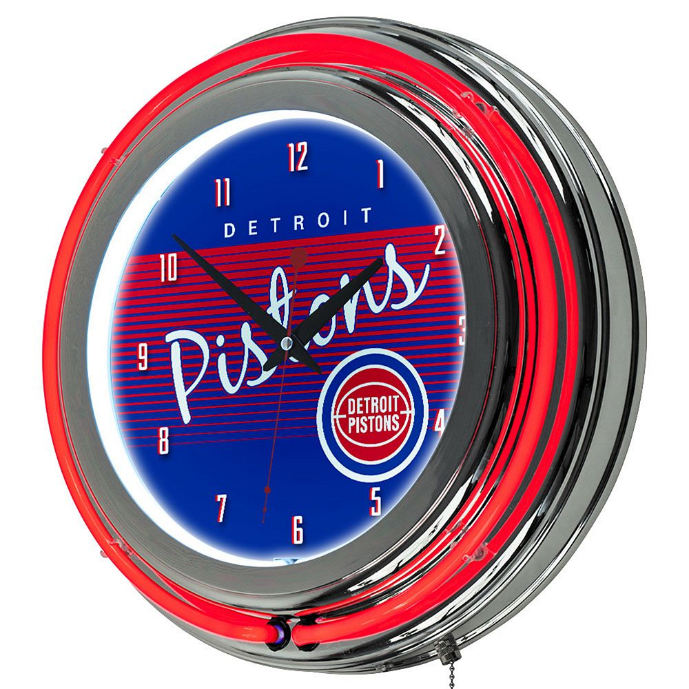 Detroit Pistons Hardwood Classics Chrome Double-Ring Neon Wall Clock