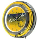 Golden State Warriors Hardwood Classics Chrome Double-Ring Neon Wall Clock