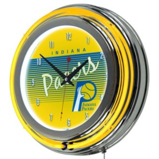 Indiana Pacers Hardwood Classics Chrome Double-Ring Neon Wall Clock