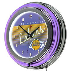 Los Angeles Lakers Hardwood Classics Chrome Double-Ring Neon Wall Clock