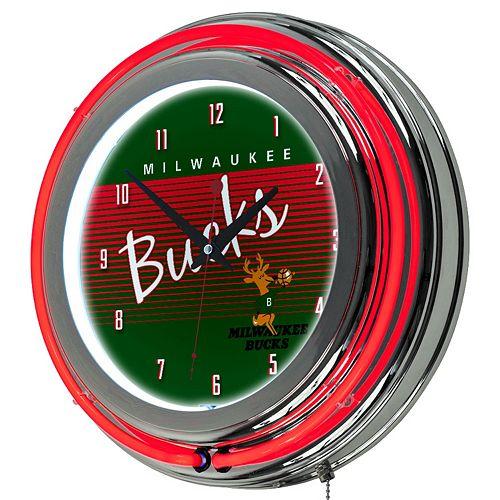 Milwaukee Bucks Hardwood Classics Chrome Double-Ring Neon Wall Clock