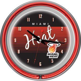 Miami Heat Hardwood Classics Chrome Double-Ring Neon Wall Clock