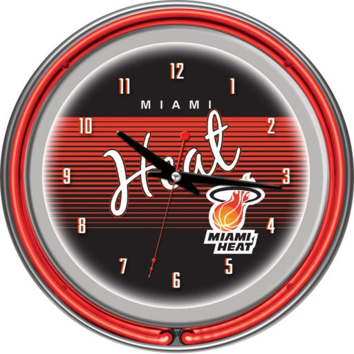 Miami Heat Hardwood Classics Chrome Double-Ring Neon Wall Clock