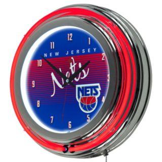 New Jersey Nets Hardwood Classics Chrome Double-Ring Neon Wall Clock