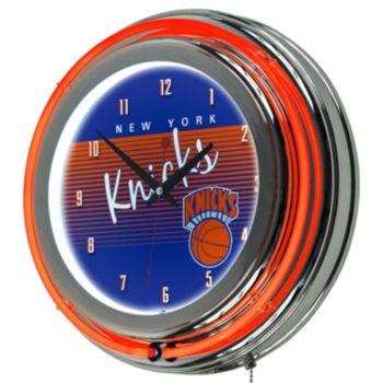 New York Knicks Hardwood Classics Chrome Double-Ring Neon Wall Clock