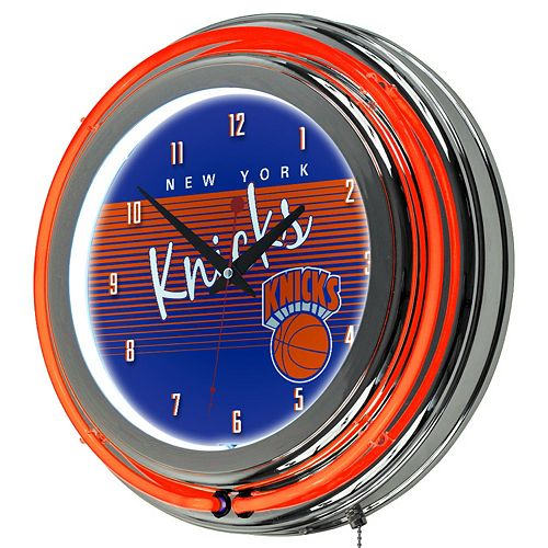 New York Knicks Hardwood Classics Chrome Double-Ring Neon Wall Clock