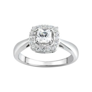 DiamonLuxe 3/4 Carat T.W. Simulated Diamond Sterling Silver Halo Ring