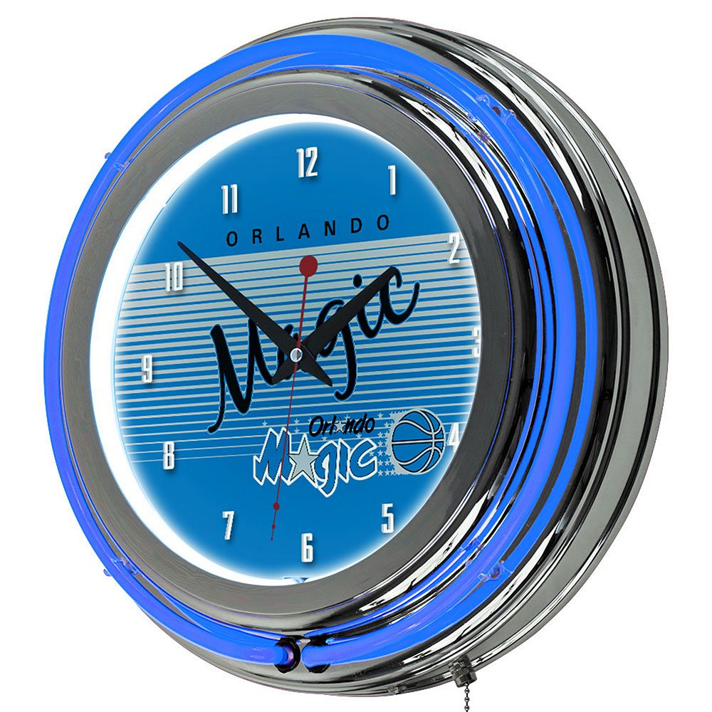 Orlando Magic Hardwood Classics Chrome Double-Ring Neon Wall Clock