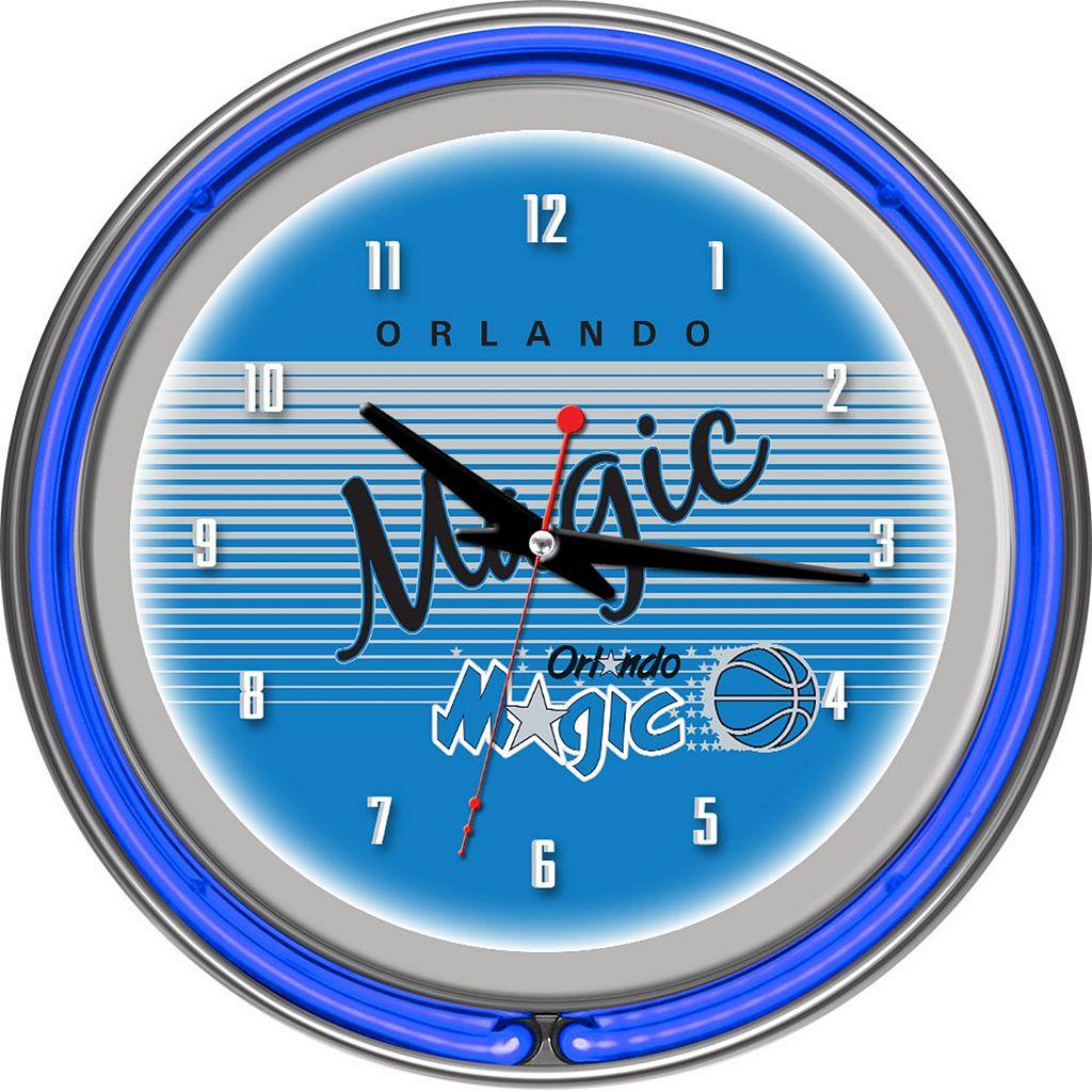 Orlando Magic Hardwood Classics Chrome Double-Ring Neon Wall Clock