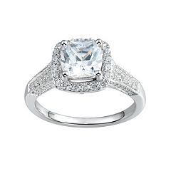 DiamonLuxe 2 1/4 Carat T.W. Simulated Diamond Sterling Silver Halo Ring
