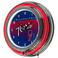 Philadelphia 76ers Hardwood Classics Chrome Double-Ring Neon Wall Clock