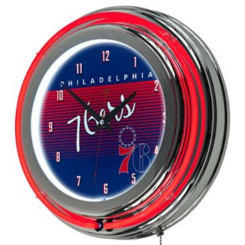 Philadelphia 76ers Hardwood Classics Chrome Double-Ring Neon Wall Clock