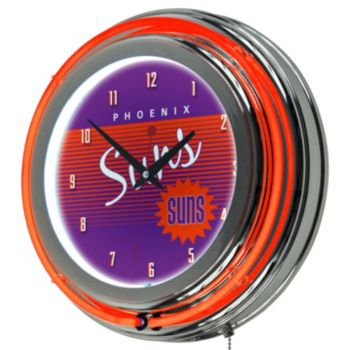 Phoenix Suns Hardwood Classics Chrome Double-Ring Neon Wall Clock