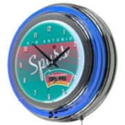 San Antonio Spurs Hardwood Classics Chrome Double-Ring Neon Wall Clock