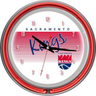 Sacramento Kings Hardwood Classics Chrome Double-Ring Neon Wall Clock