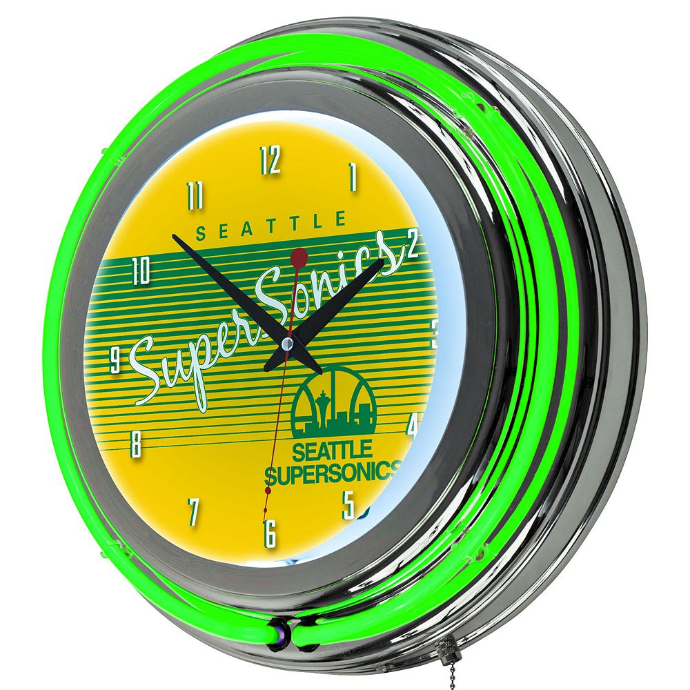 Seattle Super Sonics Hardwood Classics Chrome Double-Ring Neon Wall Clock