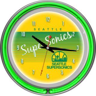 Seattle Super Sonics Hardwood Classics Chrome Double-Ring Neon Wall Clock