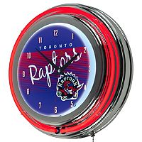 Toronto Raptors Hardwood Classics Chrome Double-Ring Neon Wall Clock