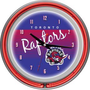 Toronto Raptors Hardwood Classics Chrome Double-Ring Neon Wall Clock