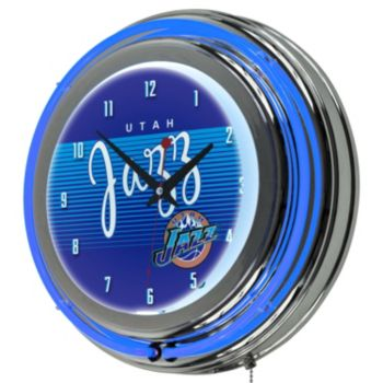 Utah Jazz Hardwood Classics Chrome Double-Ring Neon Wall Clock