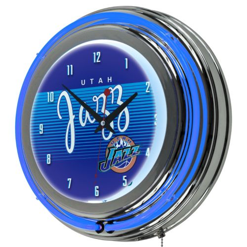 Utah Jazz Hardwood Classics Chrome Double-Ring Neon Wall Clock