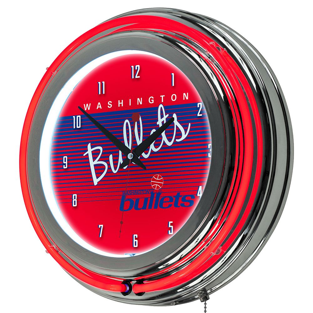Washington Bullets Hardwood Classics Chrome Double-Ring Neon Wall Clock