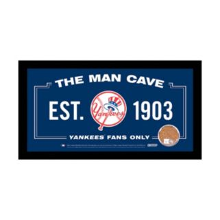 """Steiner Sports New York Yankees Framed 6"""" x 12"""" Man Cave Sign with Game Used Dirt"""