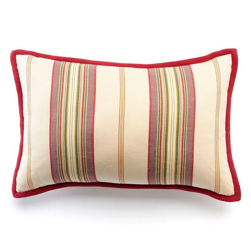Chaps Sarah Floral Ticking Stripe Bolster Throw Pillow