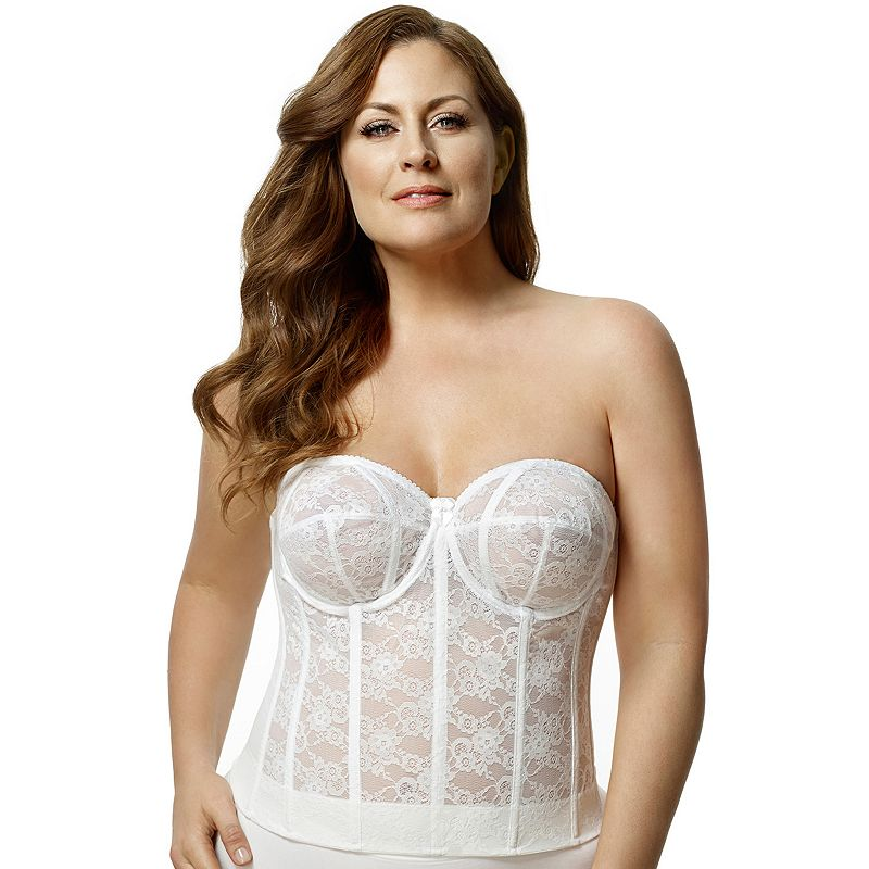 Elila Bra: Lace Strapless Full-Figure Longline Bra 6621 - Women's
