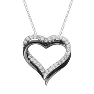 Lab-Created White Sapphire Sterling Silver Two Tone Double Heart Pendant Necklace