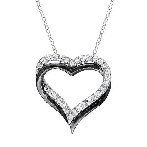Stella Grace Lab-Created White Sapphire Sterling Silver Two Tone Double Heart Pendant Necklace