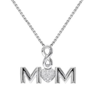 Diamond Accent Sterling Silver Mom Infinity Pendant Necklace