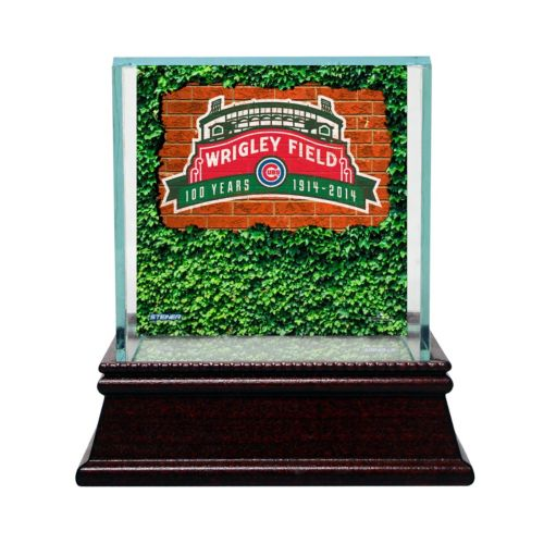 Steiner Sports Glass Single Baseball Display Case with Chicago Cubs Wrigley Field 100-Year Anniversary Logo Background